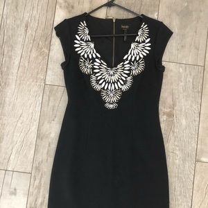 LBD with white embroidery neckline